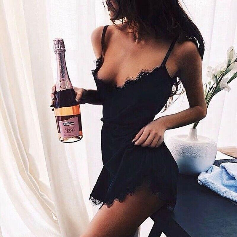 2pcs Women Sexy Satin Lace Sleepwear Babydoll Lingerie Nightdress Pajamas Set
