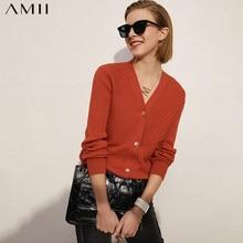 Amii – manteau minimaliste pour femmes, cardigan décontracté solide à rayures et col en v, à simple boutonnage, à la mode, collection printemps 12130073