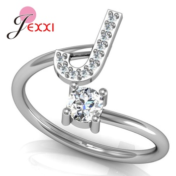 Hot Sale 925 Silver Ring Creative A To Z Initial 26 Letters CZ Crystal Paved Setting Name Jewelry for Women Men Drop Shipping 2