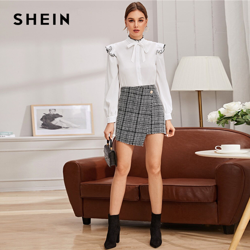 SHEIN Plaid Single Button Wrap Tweed Skirts Womens Autumn Winter Mid Waist Elegant Office Lady A Line Mini Skirt 2