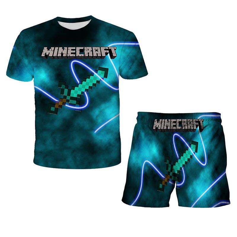 New MY-World2021 Pop Kids Printed T-Shirt Shorts Two Piece Set Kawaii Zombie Cartoon Streetwear Hip Hop T-Shirt Game Toy Boys Gi