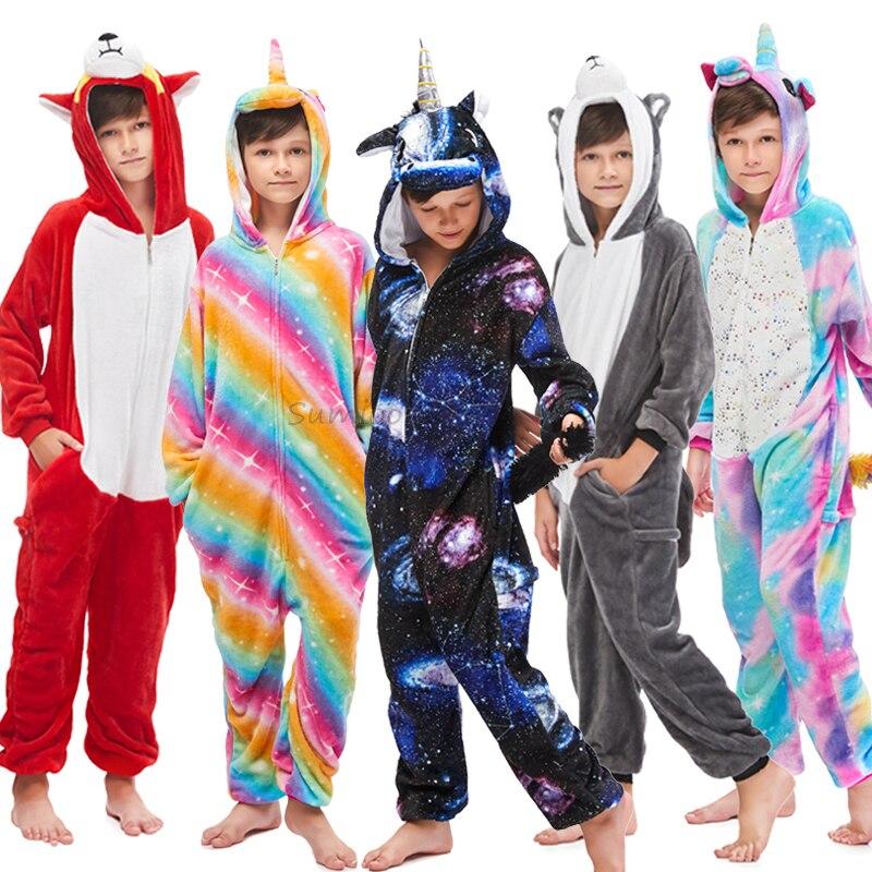 Kigurumi Unicorn Pajamas Animal Onesie For Children Girls Boys Sleepwear Kids Cartoon Licorne Stitch Pyjama Suit Winter Overalls