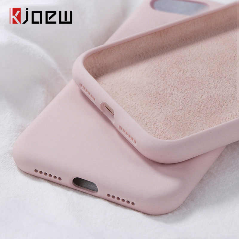 Kjoew Silikon Padat Warna Case untuk iPhone 11 Pro Max XR X Permen Warna Ponsel Case untuk iPhone 7 6 6S 8 PLUS Soft TPU Shell Cover