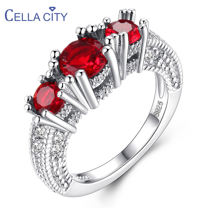 Cellacity Silver 925 Jewelry Round Gemstones Ring for Women Zircon Ruby Amethyst Emerald Citrine Sapphire Aquamarine Size5-10