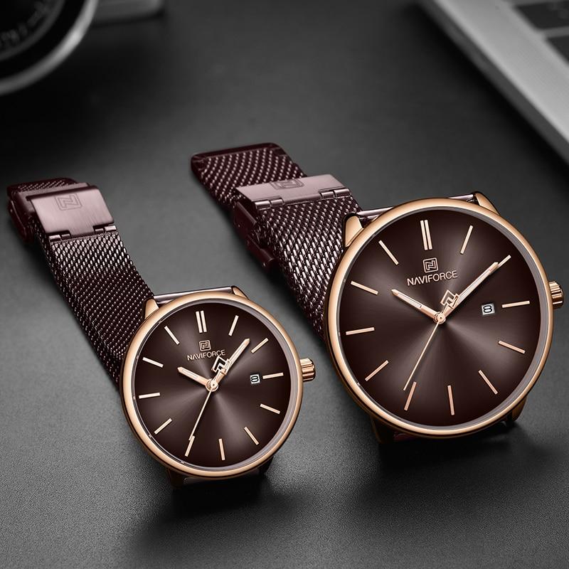 Men Women Couple Watches Top Brand NAVIFORCE Simple Quartz Watch Full Steel Mesh Waterproof Lovers Clock Relogio Masculino 2020