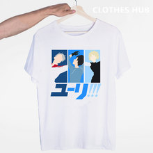 Anime T-shirt Mannen T-shirt Mode Yuri Op Ijs T-shirt O Hals Russische T-shirts Voor Man Grappige Top Tees(China)