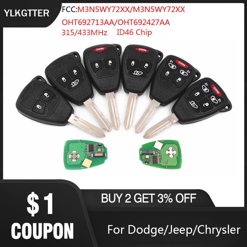 YLKGTTER 315/433MHz <font><b>Remote</b></font> <font><b>key</b></font> For Dodge Dakota Durango Charger for <font><b>Jeep</b></font> Grand Cherokee Chrysler 300 <font><b>key</b></font> Fob with ID46 Chip image