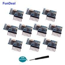 FunDeal 10 sztuk 433 MHz bezprzewodowy odbiornik rf kod nauki moduł dekodera 4 kanałowy wyjście do zdalnego sterowania EV1527 2262 kodowania