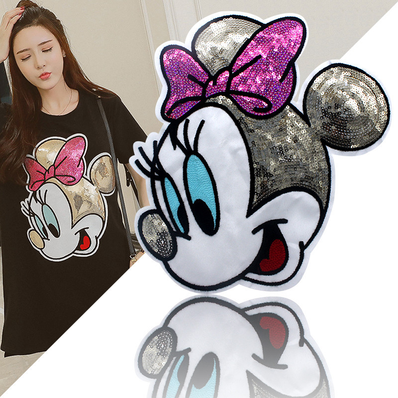Large Cloth Sticker Minnie Clothes Patch Pattern Cloth Sticker Diy Coat And Clothing Decoration