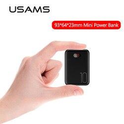 Mini power bank 10000 mah usams powerbank portátil bateria externa de carregamento rápido powerbank display led para iphone samsung xiaomi