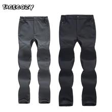 купить Facecozy Men Outdoor Winter Pants Hiking Waterproof Softshell Pants Women Fleece Trekking Trousers for Camping Climbing Skiing дешево