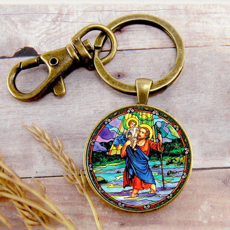 Saint Christopher Key Ring Key Chain Buckle Pendant Birthday Festival Anniversary Gift Jewelry Accessories