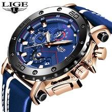 купить Relogio masculino LIGE Mens Watches Top Brand Luxury Military Sport Watch Men Black Leather Analog Quartz Watch Waterproof+Box дешево