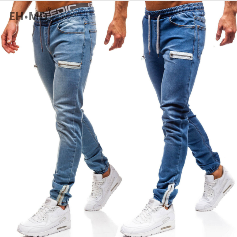 EH·MD® Men's Denim Fabric Casual Frosted Zipper Design Sports Jeans Men's Black Beam Elastic Band Cotton Zip Pockets And Feet