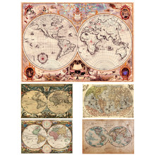 Vintage world map canvas painting, antique vintage map wall art posters and pictures to decorate the living room bedroom