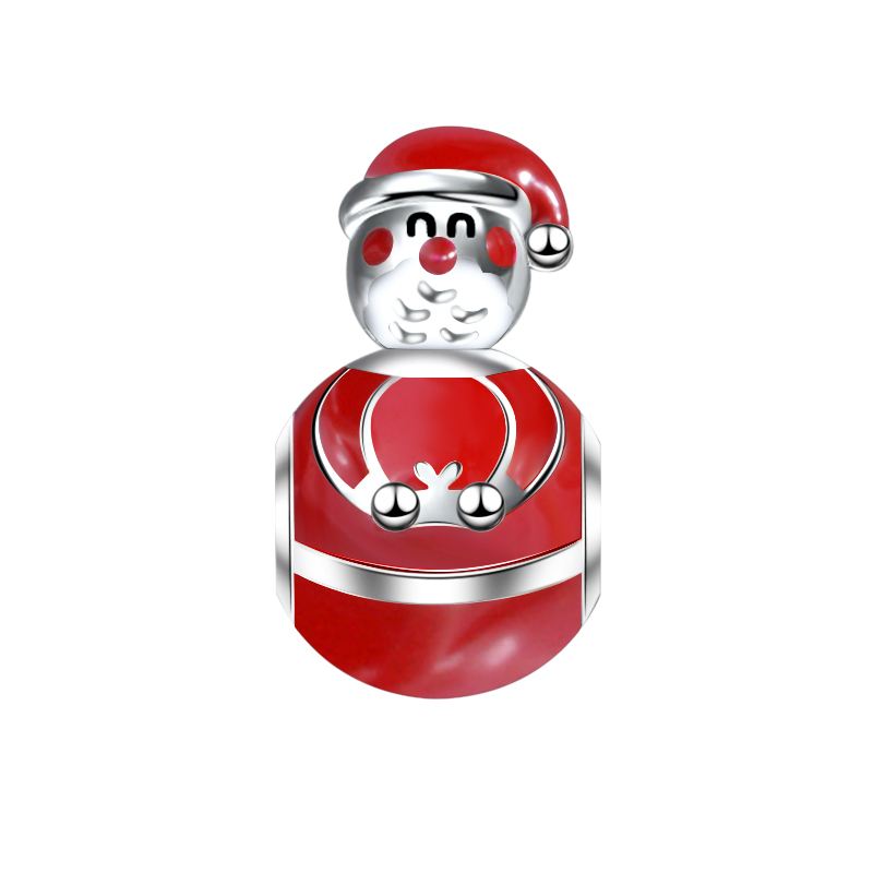 Strollgirl 925 Sterling Silver Santa Claus Charms Red Enamel Hat Man Beads Fit Pandora Bracelet For Women Christmas Jewelry Gift
