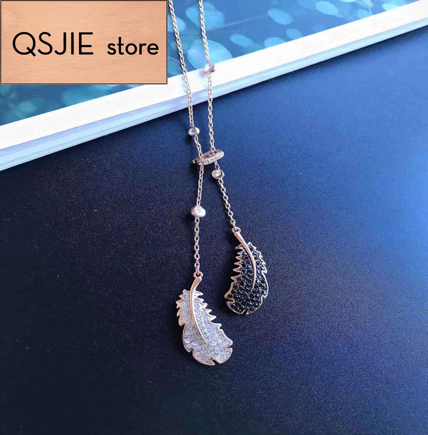 QSJIE High quality SWA black and white feather Long Necklace Glamorous fashion jewelry