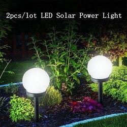 2 pçs/lote led bola luz da lâmpada de energia solar ao ar livre jardim caminho quintal gramado luz estrada pátio chão rua lâmpadas decoração à prova dwaterproof água