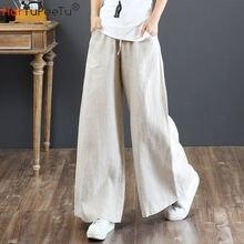 Женские широкие брюки из хлопка и льна эластичные на шнуровке