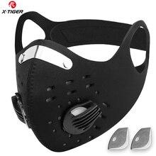 X נמר רחיץ ספורט אימון רכיבה על אופניים מסכה עם מסנני הופעל פחמן PM2.5 נגד זיהום רכיבה על אופניים מסכת פנים עם earloop