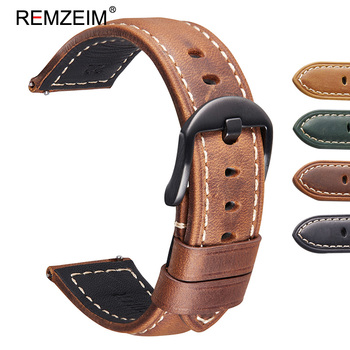 REMZEIM Crazy Horse Genuine Leather Strap For Samsung Galaxy Watch 46mm Gear S3 Frontier Classic Quick Release Watchband