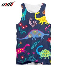 UJWI Vest Homme Hot Gyms 3D Sleeveless Shirt Print Dinosaur Cute couple Summer Casual Oversized Attire Male Spring Tank Tops(China)