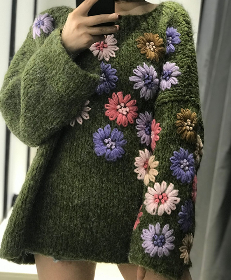 2019 Rushed Pullover Jumper Heavy Work Hand-knitted Female Double-layered Hook Flower Hiphair Embroidery Soft Comfortable Woman thumbnail
