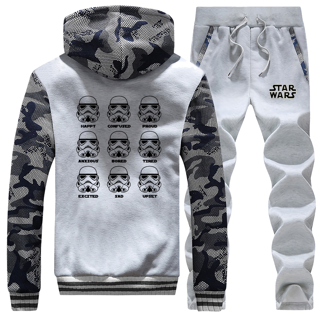 Funny Star Wars Thick Hoodies 2019 Winter Stormtrooper Emotions Male Set Camouflage Pants Sweatshirts Warm Fashion Men's Jacket