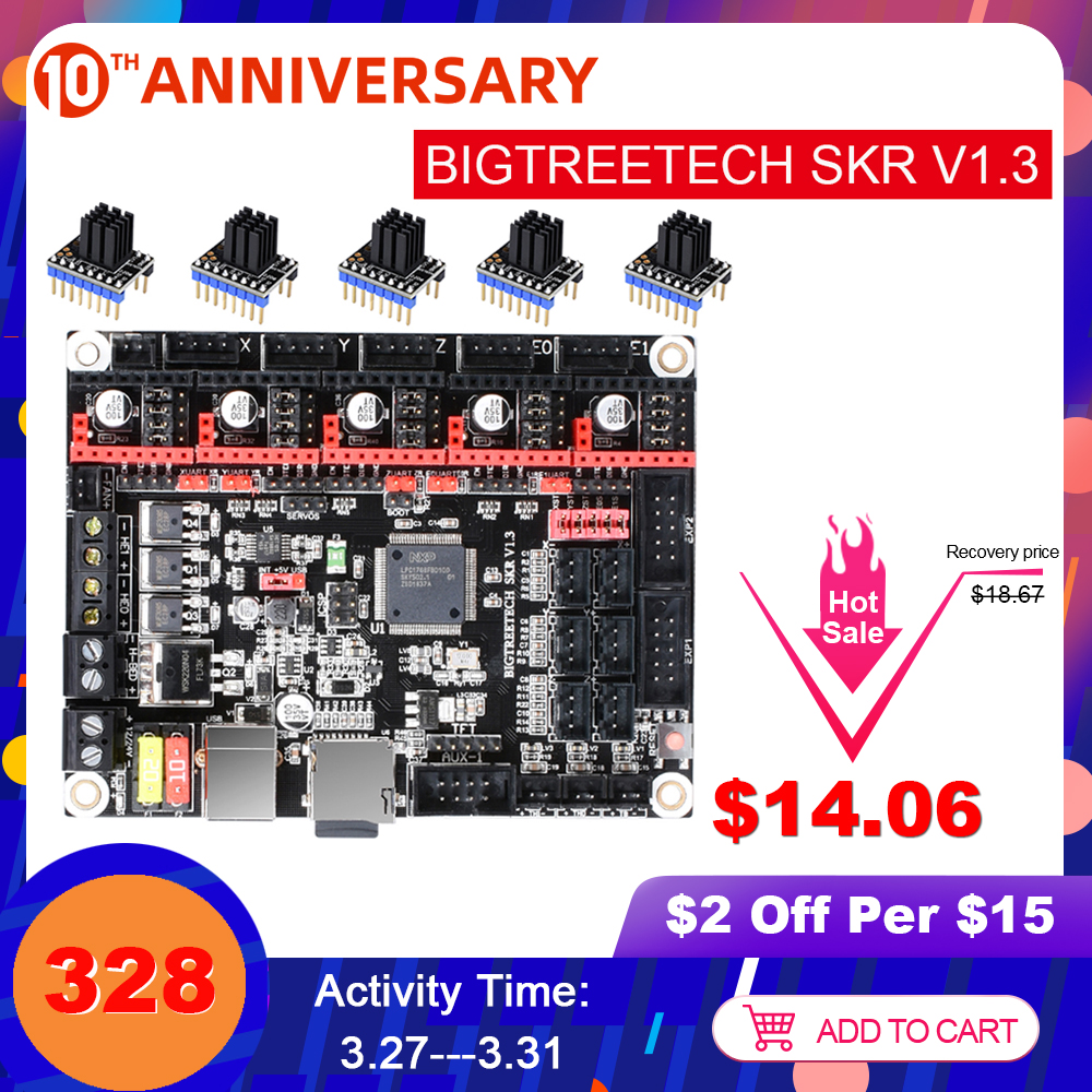 BIGTREETECH SKR V1.3 3D Printer Board 32Bit Control TMC2208 3D Printer Parts VS Ramps 1.4 E3 DIP For Ender 3 TMC2209 MKS GEN L