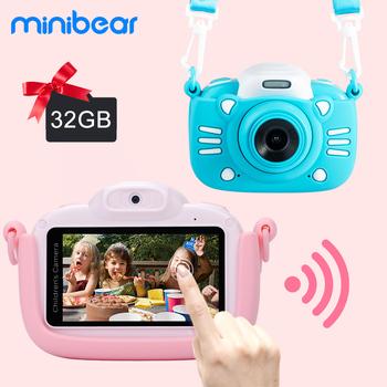 Minibear aparat dziecięcy dla dzieci aparat cyfrowy dla dzieci 1080P 4K HD kamery wideo zabawka dla dzieci prezent urodzinowy dla dziewczynek chłopców tanie i dobre opinie Stała ogniskowa CN (pochodzenie) Wielokrotna stabilizacja obrazu WiFi CMOS 4 3 cale 24-60mm 24 0MP H2 H3 Karta SD Ekran dotykowy Ekran HD Ekran OLED