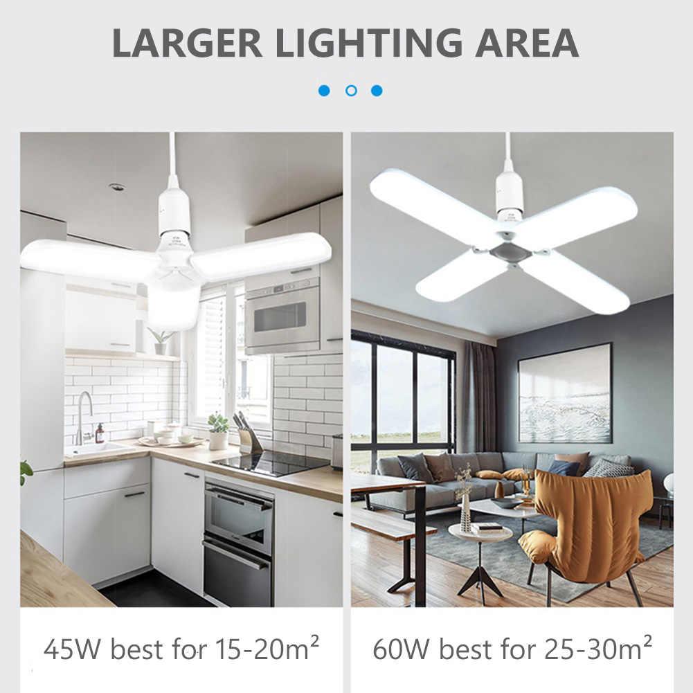 30//45//60W E27 LED Folding Fan Blade Light Angle Adjustable Ceiling Lamp Bulb UK