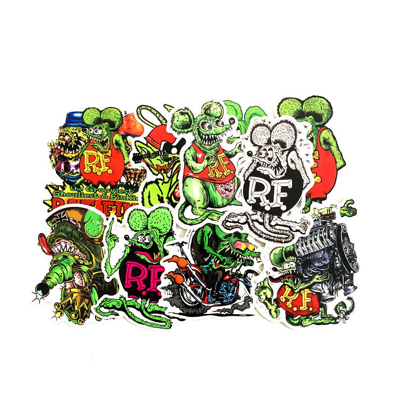 TD ZW 10Pcs Rat Fink Stickers For Snowboard Laptop Luggage Car Fridge DIY Styling Vinyl Home Decor Pegatina