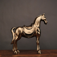 DropShipping Vintage bronze horse sculpture statue abstract Resin Animal Ornament Home Decoration Accessories Wine cabinet decor