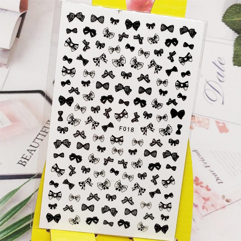 3D наклейки для ногтей с бантом и черной розочкой Дизайн ногтей украшения из фольги наклейки Обертывания Аксессуары для маникюра декорации
