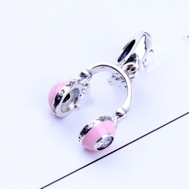 Qikaola Authentic 100% 925 Sterling Silver Pink Headset Charms Fit Original Pandora Bracelet Making Fashion Jewelry DIY CMC12