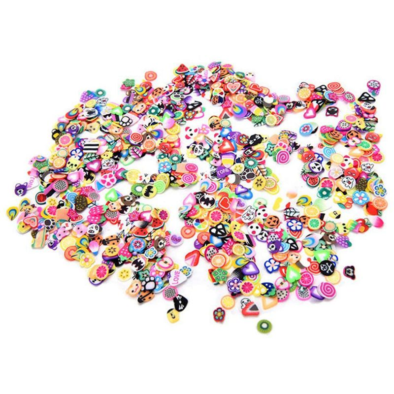 2000 Pieces 3D Fruit Flower Clay Slices For Slime, DIY Crafts, Nail Art Decorations