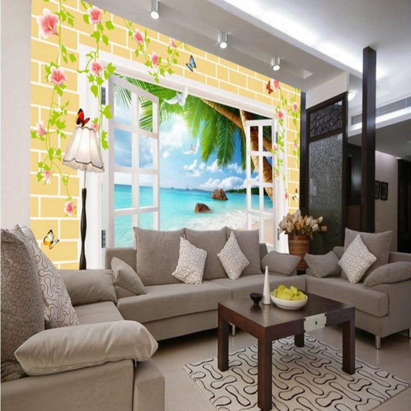 Drop Shipping Custom Mural 3D Windows Outside The Sea Mural Bedroom Living Room Lobby Wallpaper Decorative Painting 3d Wallpaper