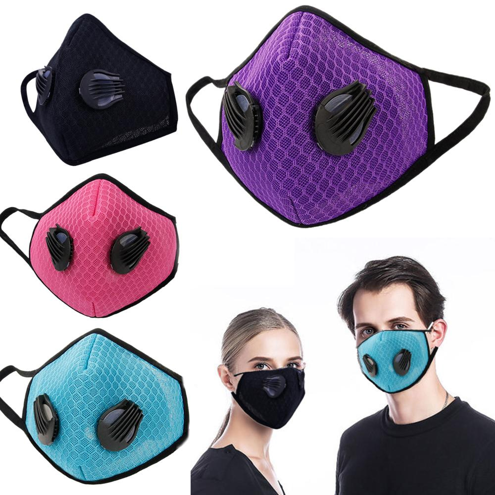 1Pcs Fashion Respirator Mask With Breathing Valve Washable Gridding Mesh Activated Carbon Filter PM2.5 Mouth Masks