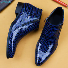 QYFCIOUFU 2019 Genuine Leather Chelsea Boots Mens Double Zipper Alligator Skin Ankle Boot Men's High Top Dress Shoes Fashion(China)