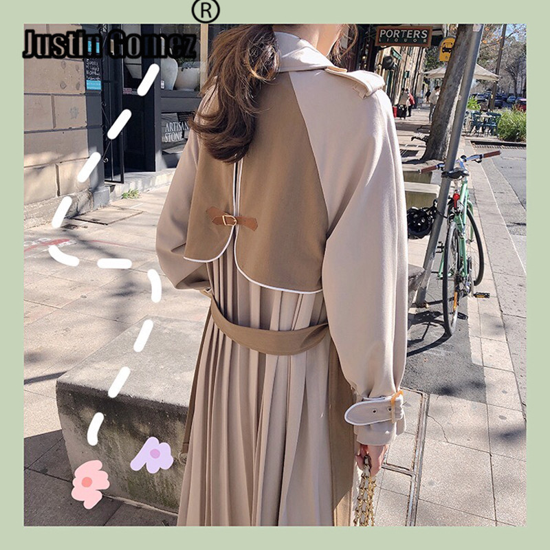 Trendy Pleated Back Patchwork Long Coat Autumn Outwear Women Casual   Trench   Coat With Belt Pleated Double-breasted Feminine Coat