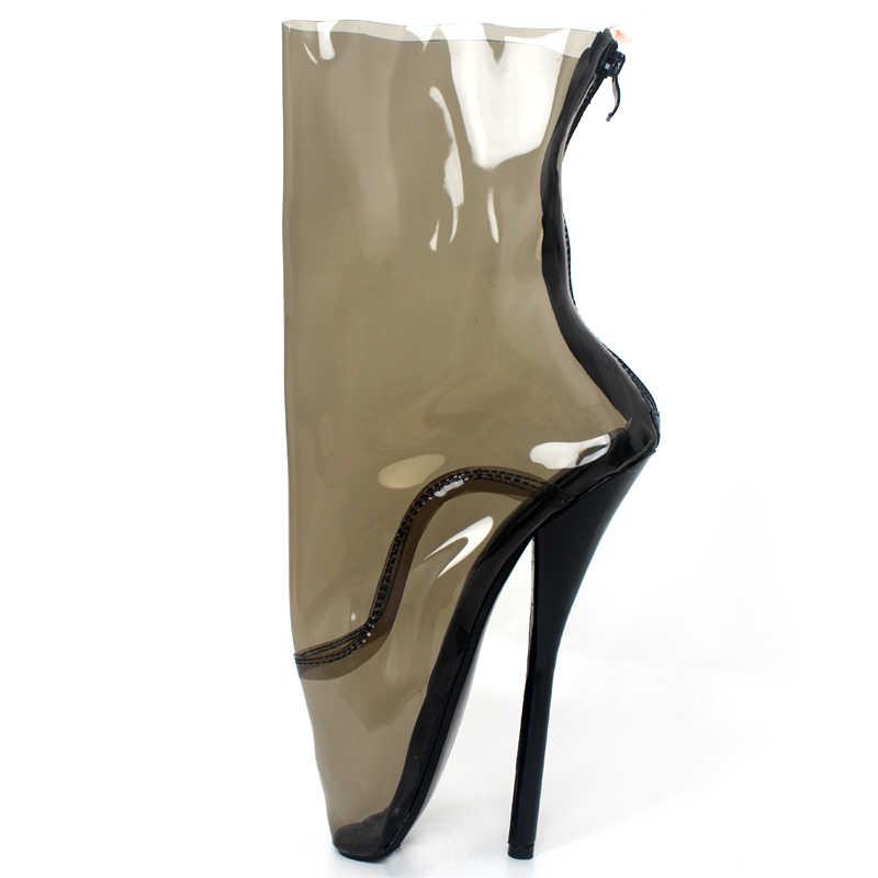 شفافة الباليه أحذية النساء واضحة المتطرفة عالية الكعب مثير الملكة الوثن الأحذية البريدي بولي كلوريد الفينيل منتصف العجل الأحذية