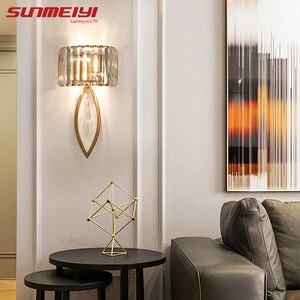 Image 3 - Luxo lâmpadas de parede led para sala estar banheiro corredor escadas loft lâmpada moderna quarto cristal luz parede specchio da parete