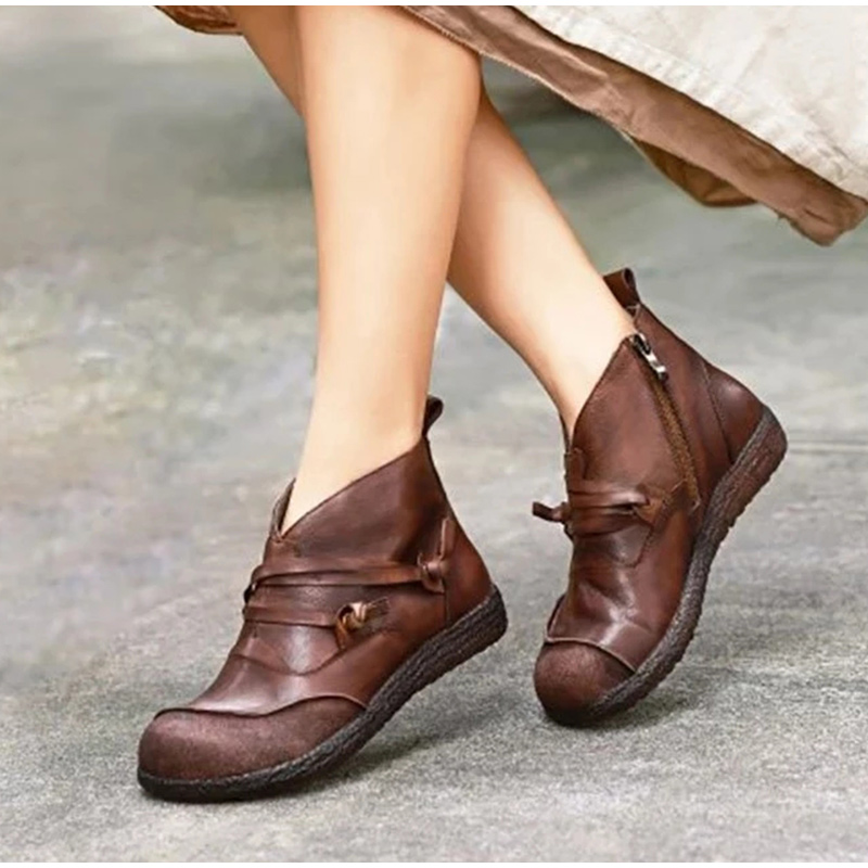Vintage Women Ankle Boots Chunky Mid Block Casual Round Toe PU Leather Shoes