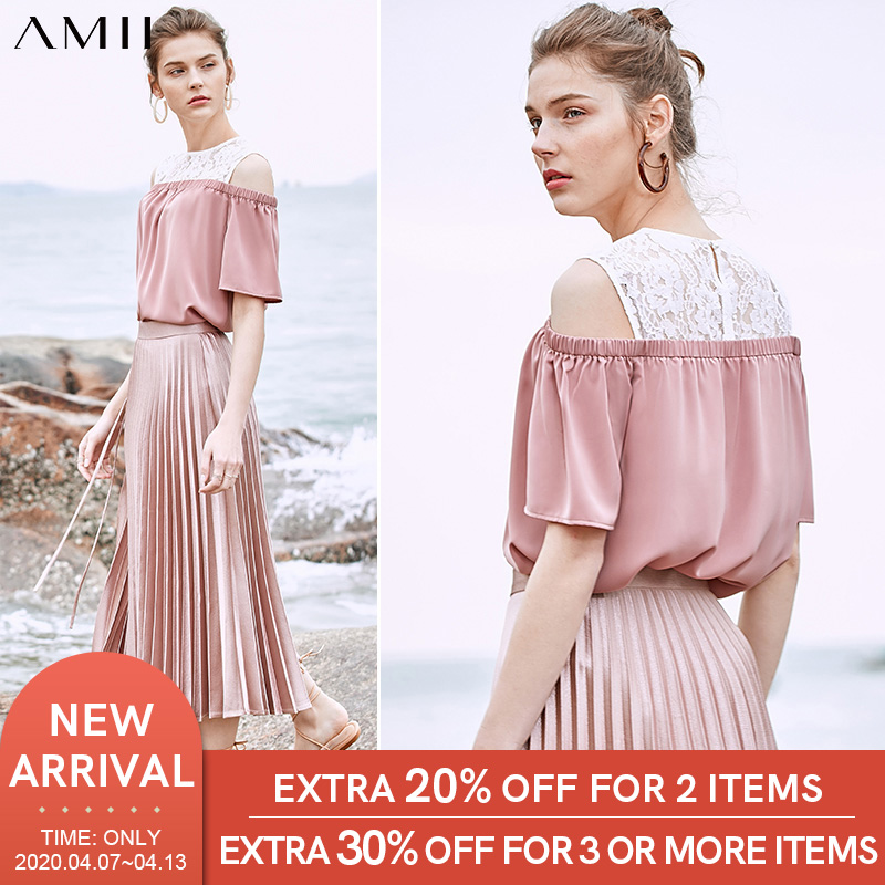 Amii Minimalist Fashion Chiffon Lace Strapless Blouse Lady Women Spring Summer Oneck Loose Blouse Tops 11930183