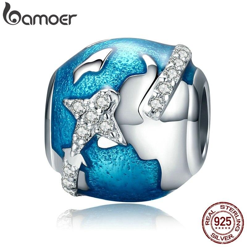 BAMOER Genuine 100% 925 Sterling Silver World Traveling & Dazzling CZ Blue Enamel Beads Fit Bracelets Jewelry Gift S925 SCC183