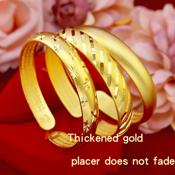 No Fading 24K Shajin Women's Bracelet Wide Brim New Bracelet Wedding Jewelry Fashion Personality Gift Jewelry