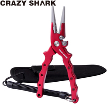 CrazyShark Aluminium Fishing Pliers Hook Remover Line Cutting Tools  Fishing Scissors For Freshwater / Saltwater Fishing 17cm optical tools eyelgasses rimless disassembly pliers set with 10 screws drivers aluminium carrying case
