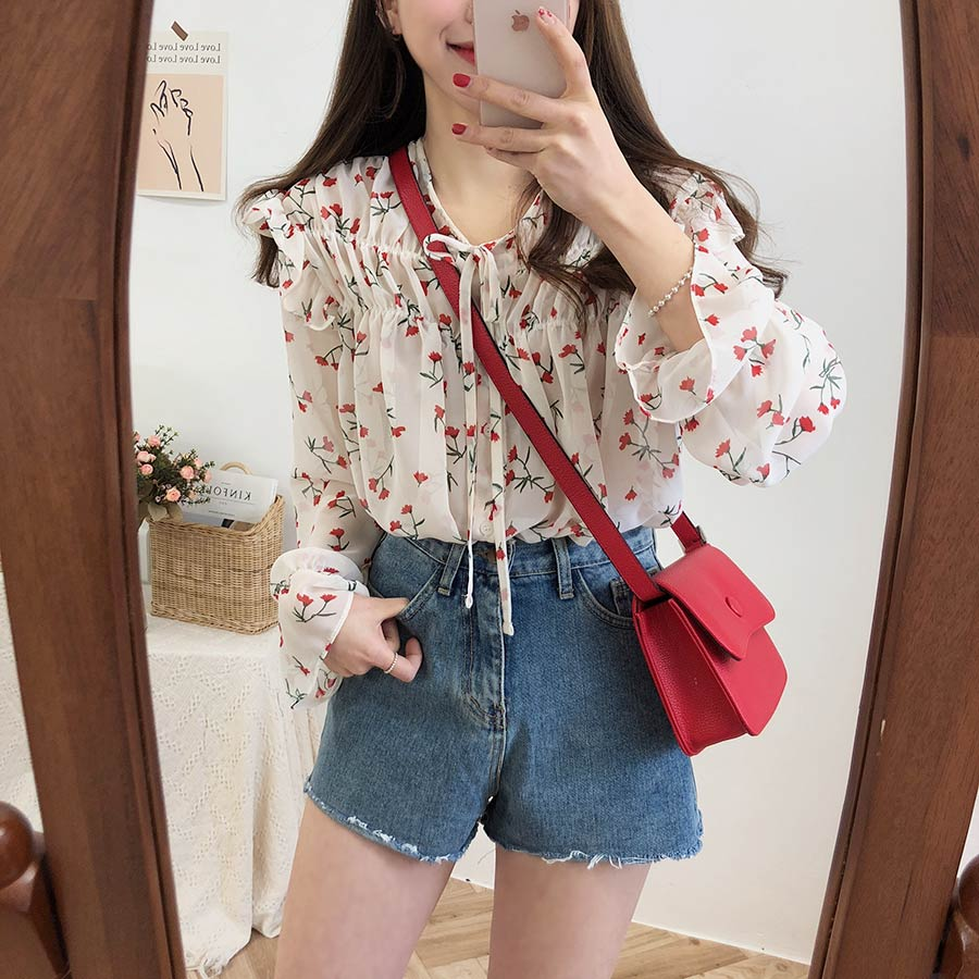 Haa8bd915d4c84597b4abfaf02ccc97faD - Spring / Autumn Lace-Up Collar Long Sleeves Floral Print Blouse