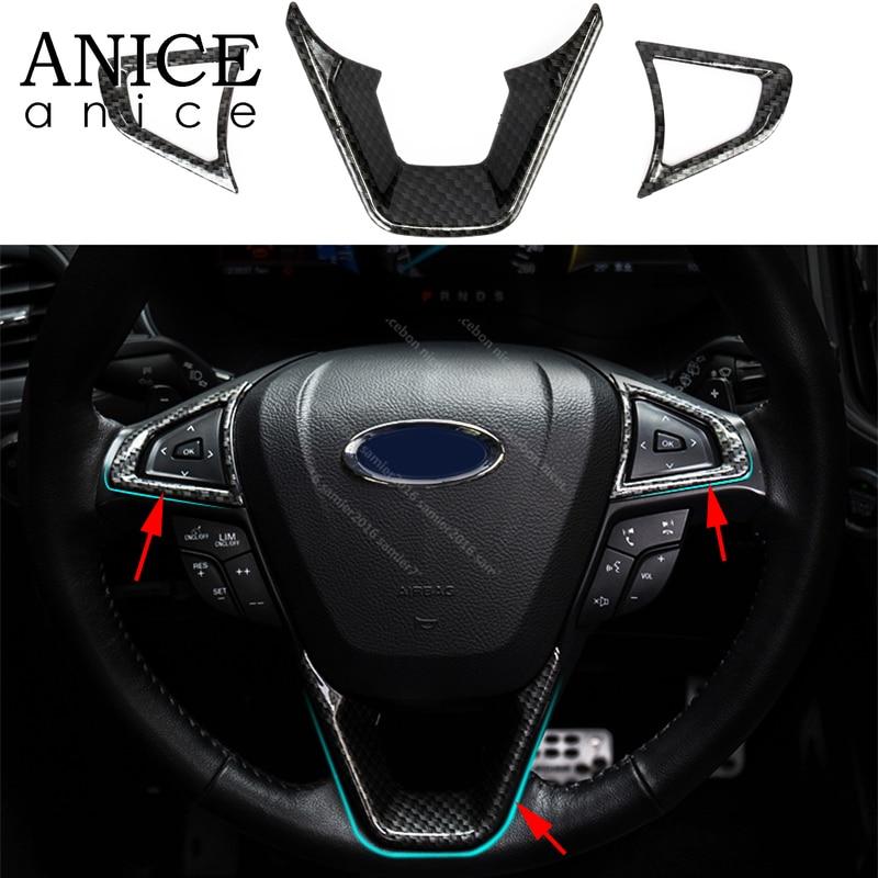 3PCS Carbon Fiber Color Steering Wheel Decorator Cover Trim For Ford Edge 15-16