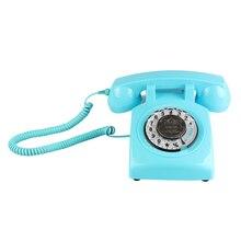 Retro obrotowe telefony domowe, staroświecki klasyczny telefon przewodowy Vintage telefon stacjonarny do domu i biura
